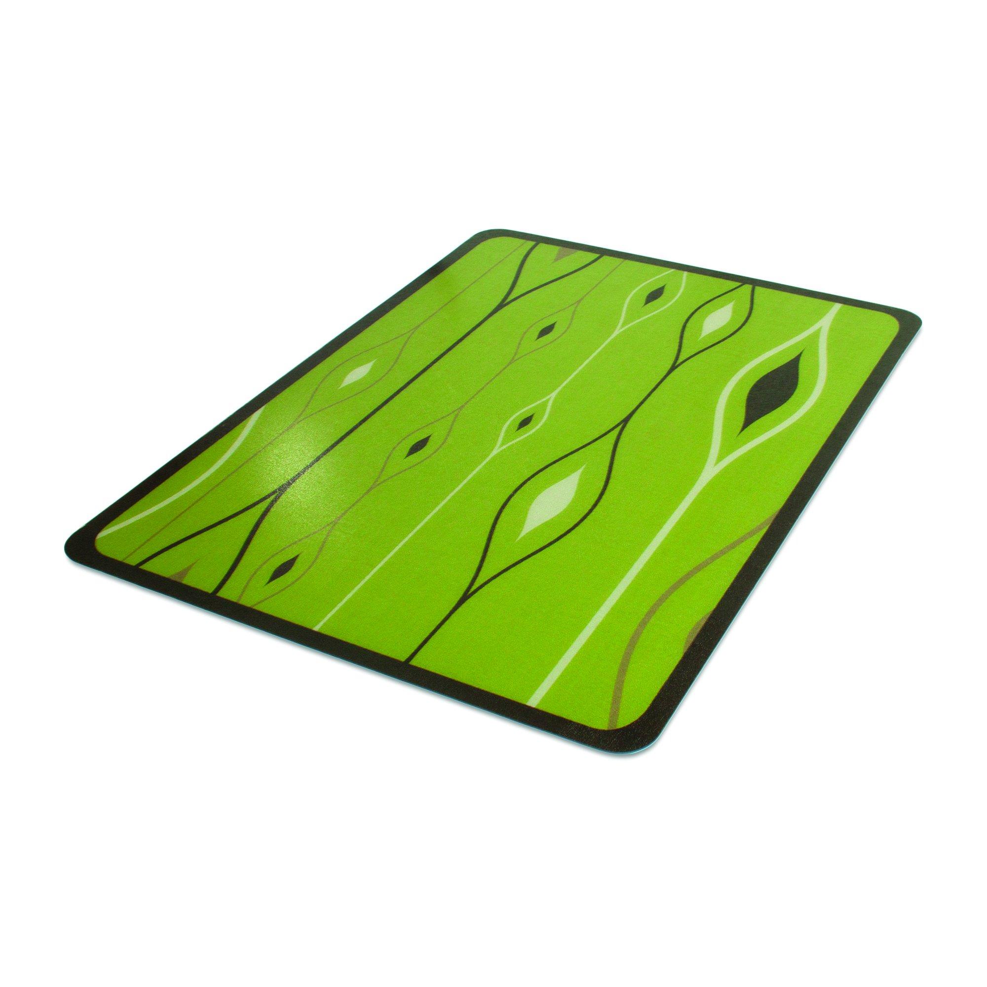 Deflecto DuraMat Decorative Chair Mat, Hard Floor Use, Rectangle, Straight Edge, 45 x 53 Inches, Wave Olivine Print (CM23242NWO)