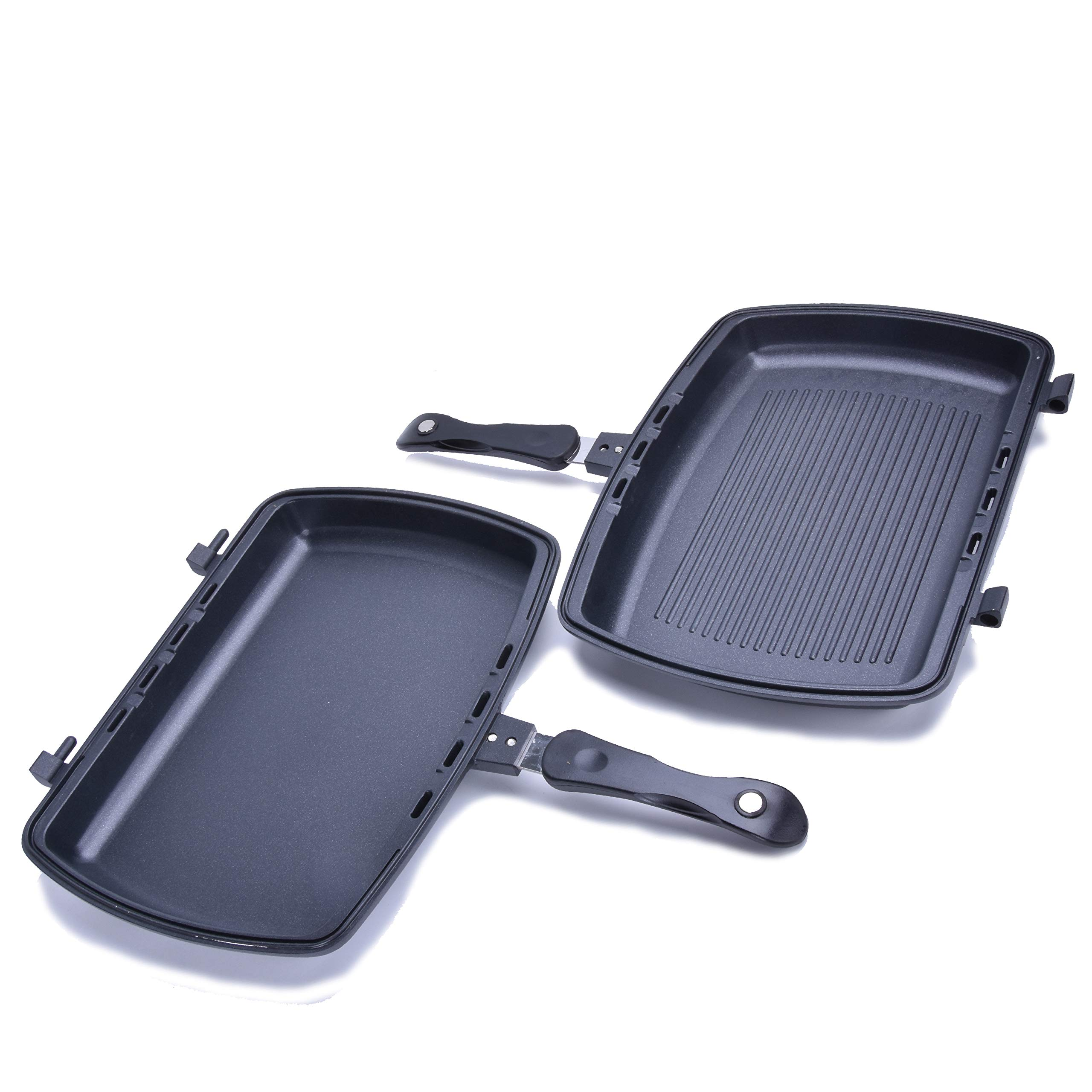 YONATA Double Sided Portable BBQ Grill Pan,Separate Detachable Double Pan Nonstick Barbecue Plate For Indoor and Outdoor Cooked Chicken,Fish,Egg by YONATA (Image #3)