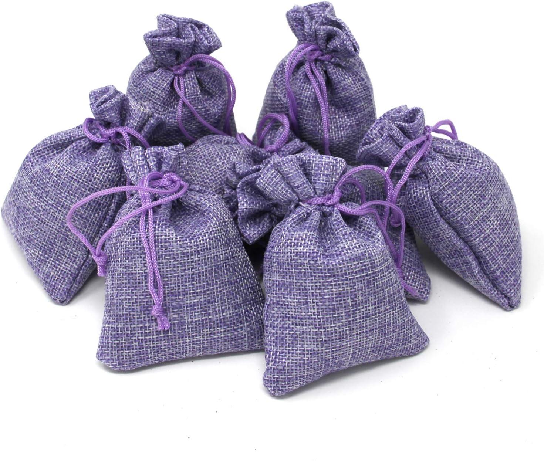 Quertee - Saquitos de lavanda de lino con 15 g de auténtica lavanda francesa, color violeta, lino, 8 unidades