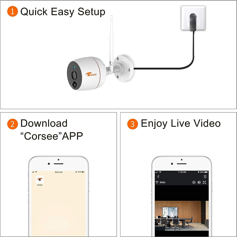 CORSEE Wireless Security Camera, 1080P Security Camera Outdoor Cameras, Support 2 Way Audio,Outdoor Security Camera System Wireless 1 pcs