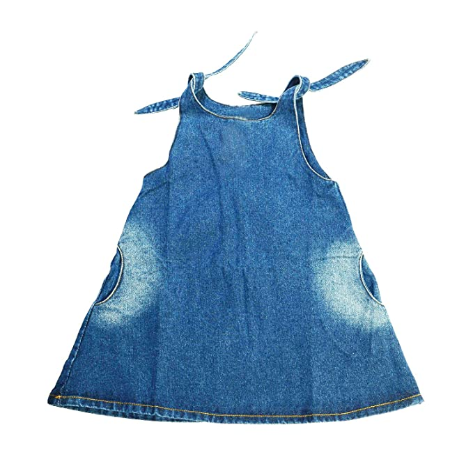 BABONI Vestidos de mezclilla sin mangas con tirantes sin mangas para niñas - Vintage Sundress de