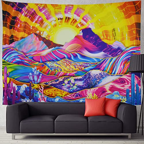 Prabahdak Psychedelic Mountain Tapestry Trippy Sun Tapestry Hippie Cactus Tapestry Abstract Wave Mountain Nature Landscape Wall Hanging Tapestry for Bedroom Dorm 70.8 H 92.5 W