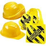 Construction Birthday Party Supplies - (24 Pack) Construction Party Hat & Mini Tote Bag Supplies - (12) Yellow Toy Hats and (