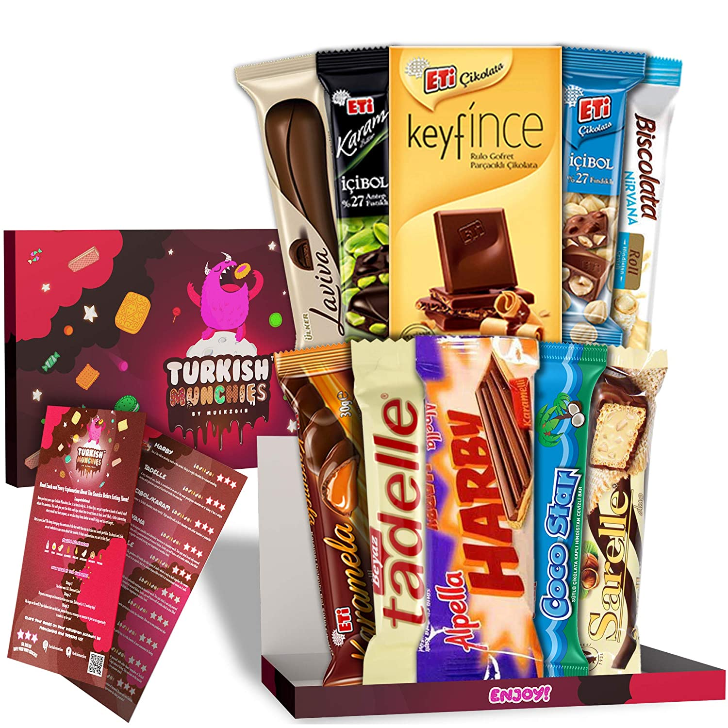 Mini Premium International Snacks Variety Pack Care Package, Ultimate Assortment of Turkish Chocolates, Foreign Candies and Foreign Snacks Box, Universal Yums, Munchpak