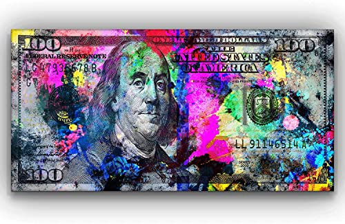 100 Dollars Bill Wall Art Canvas Print Office Decor Money Pop Art Entrepreneur Motivational 100 Bill Cash Benjamin Franklin Dollar Print Art 24″ x 48″