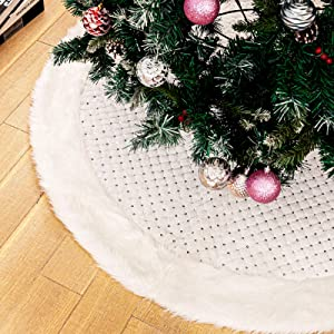 DegGod Pure White Christmas Tree Skirts with Sequin, 48 inches Plush Xmas Tree Skirt Mat with Faux Fur Trim Border for Thanksgiving Holiday Home Party Decorations Ornaments (White Sequin, 48 inches)