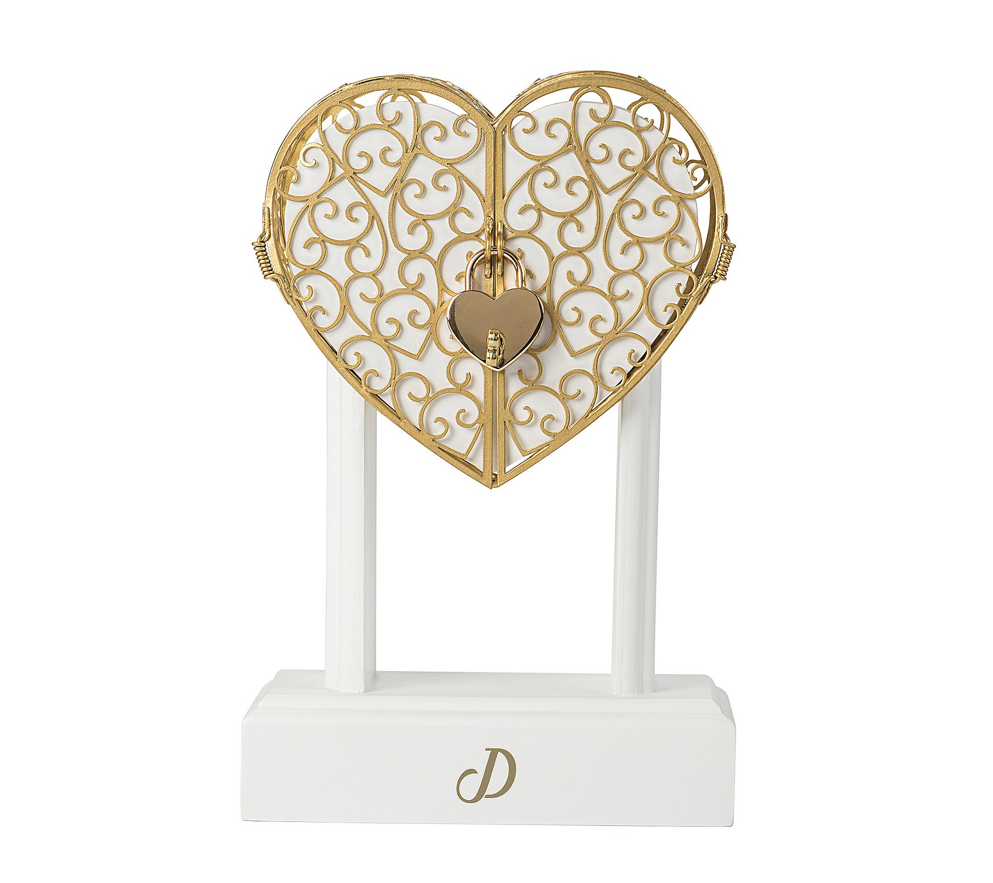 Cathy's Concepts Personalized Heart Vow Unity Keepsake Wedding, White/Gold