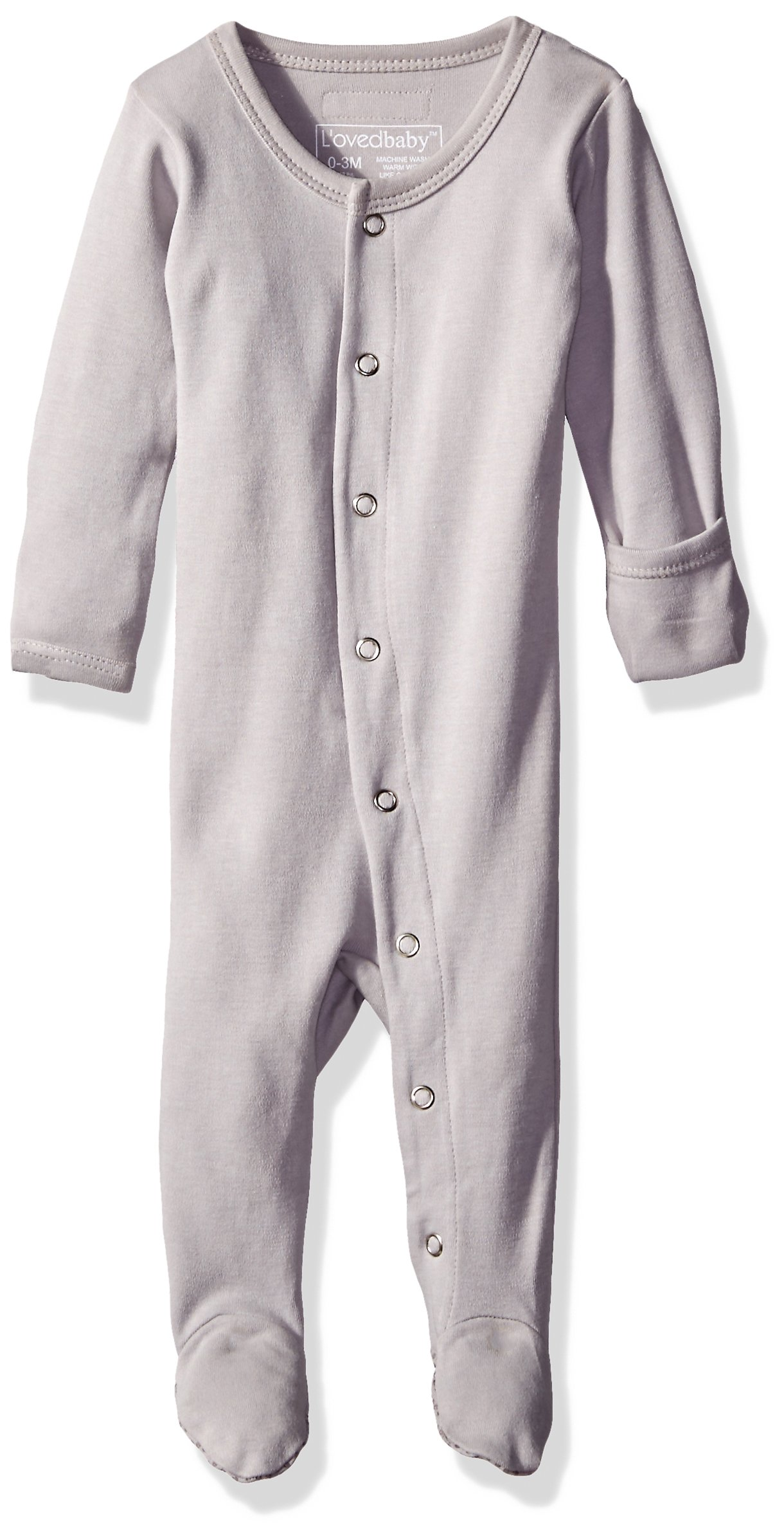 L'ovedbaby Organic Cotton Baby Footed Sleeper, Light Gray, 3-6 Months