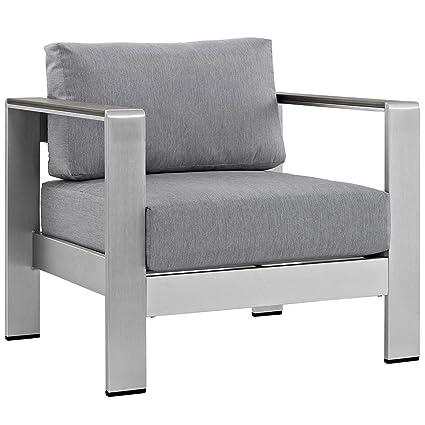 Amazon.com : Modern Contemporary Urban Design Outdoor Patio Balcony Lounge  Chair, Grey Gray, Metal Aluminum : Garden U0026 Outdoor