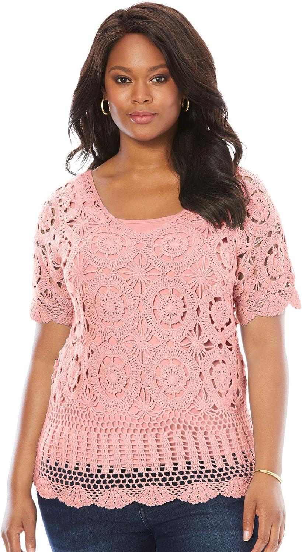 Roamans Womens Plus Size Lace Yoke Pullover