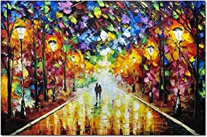 V-inspire Art, 24x36 Inch Abstract Landscape Artwork Lovers Under The Night Rainy Street Paintings Canvas Wall Art Artwork Home Decorations Wall Décor Stretched Frame Ready to Hang