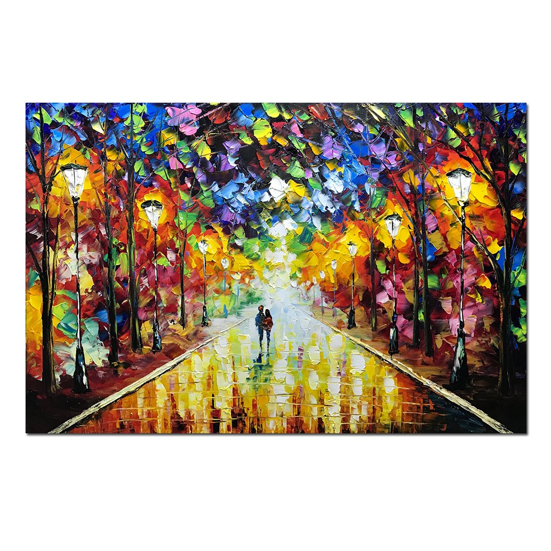 V-inspire Art, 24x36 Inch Modern Abstract Landscape Artwork Lovers Under the Night Rainy Street Canvas Painting Wall Art for Home Decorations Wall Décor with Stretched Frame Ready to Hang