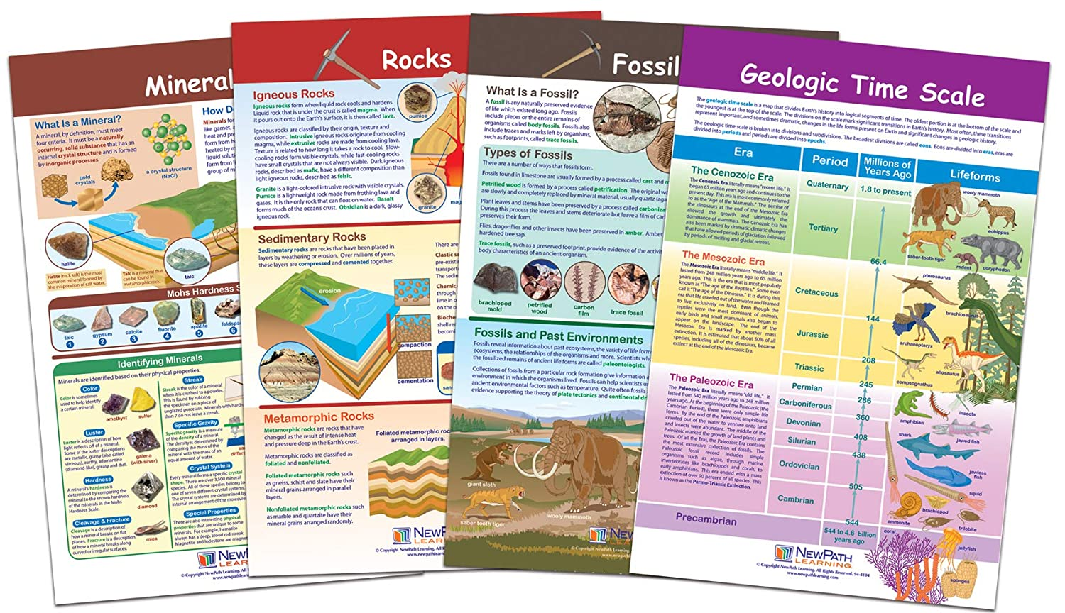 "NewPath Learning 94-8005""Rocks, Minerals and Fossils"" Bulletin Board Chart Set (Pack of 4)"