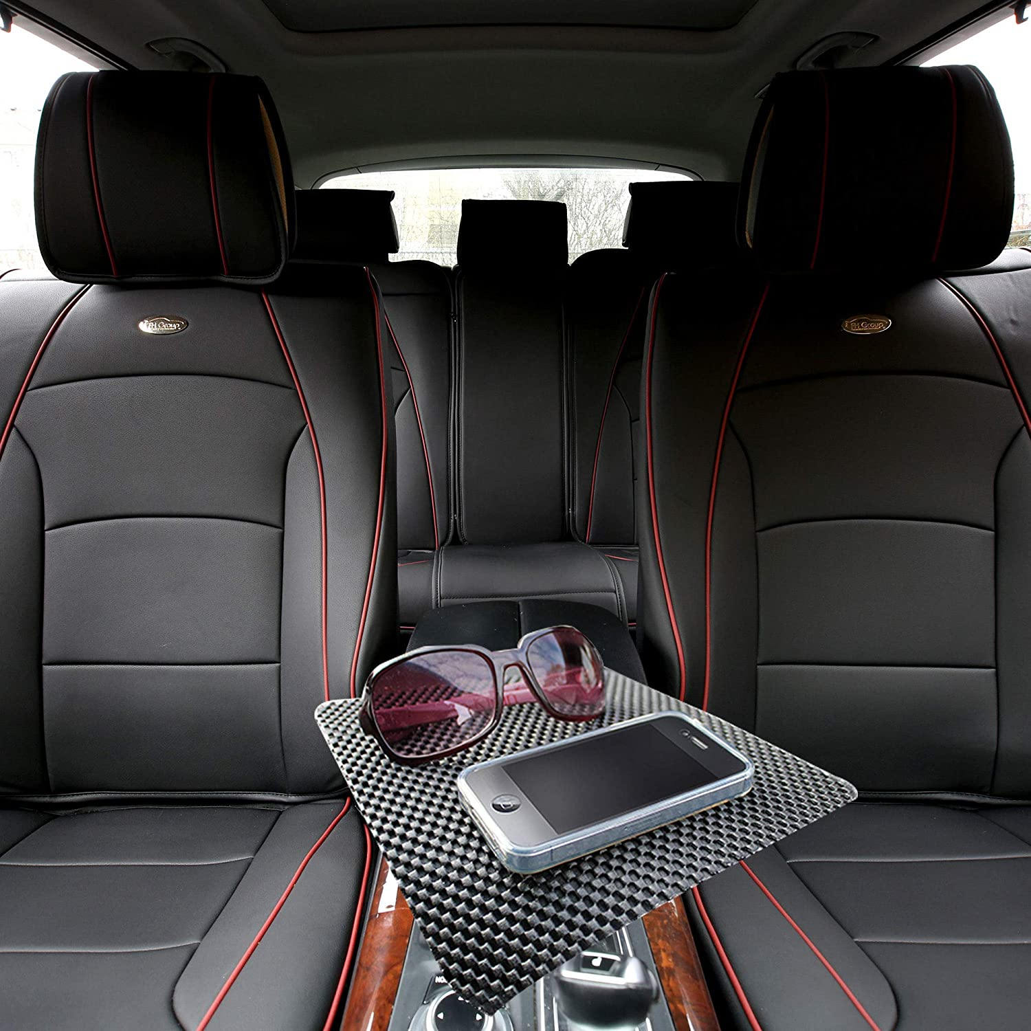 TLH Ultra Comfort Leatherette Seat Cushions Full Set, Black Red Trim Color w/Non Slip Dash Mat