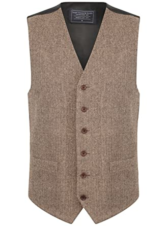 new product 54e2d 3c64c Lloyd Attree & Smith Herren Weste Braun/Beige Tweed Fischgräte Design