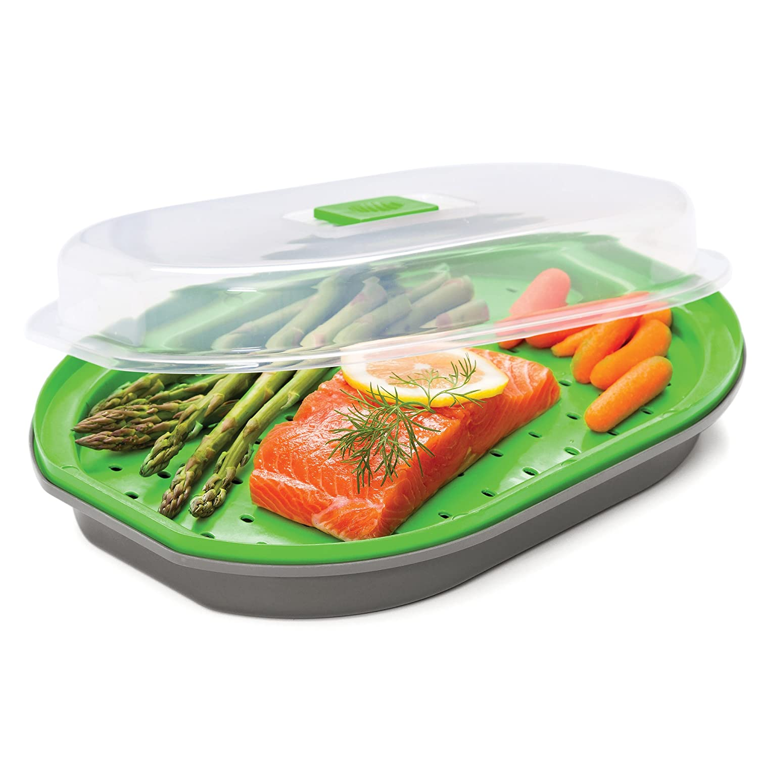 Prep Solutions Microwave Fish and Veggie Steamer, Adjustable Steam Vent Control, Vegetable Steamer, BPA FREE, Dishwasher Safe