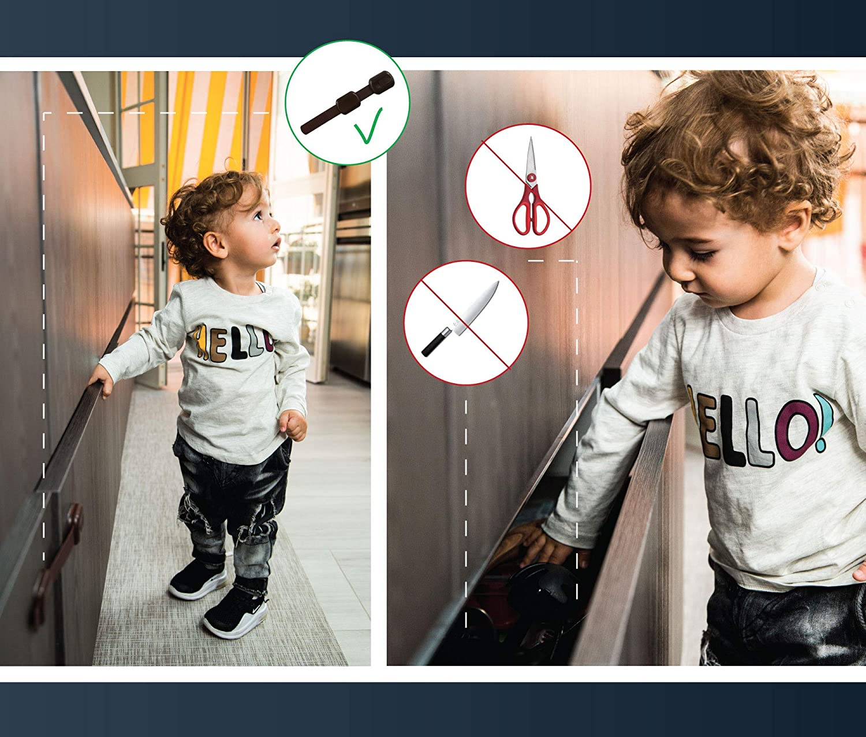 8 Pieces Child Safety Locks Black White Brown Various Colors Home Locks Locks Drawers Closet Kitchen Fridge Drawer Doors Furniture Gift Idea Sticker 3M Extra Strong Safety Black