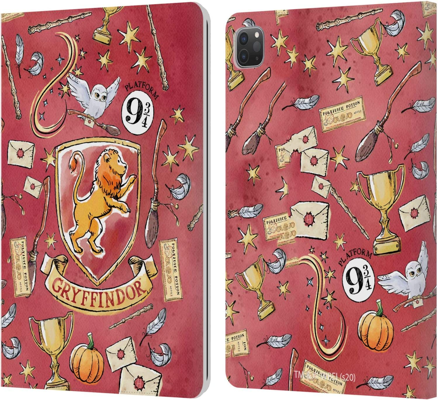 Head Case Designs Officially Licensed Harry Potter Gryffindor Pattern Deathly Hallows XIII Leather Book Wallet Case Cover Compatible with Apple iPad Pro 11 (2020/2021)