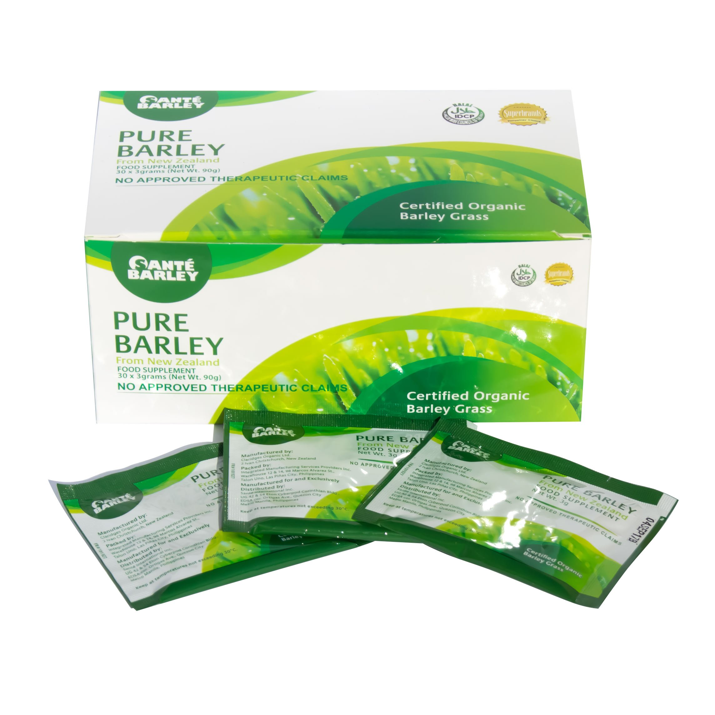 3 Boxes of Sante Pure Barley New Zealand Blend with Stevia - Large Box 30 Sachets Total 90 Grams