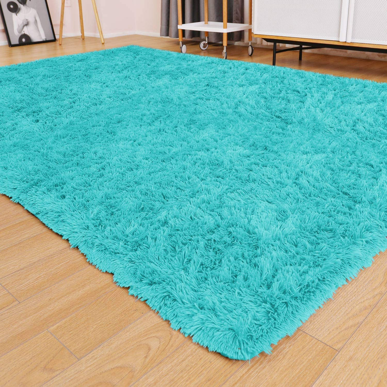 Ophanie Ultra Soft Fluffy Area Rugs for Living Room, Luxury Shag Rug Faux Fur Non-Slip Floor Carpet for Bedroom, Kids Room, Baby Room, Girls Room, and Nursery - Modern Home Decor, 4x5.3 Feet Blue