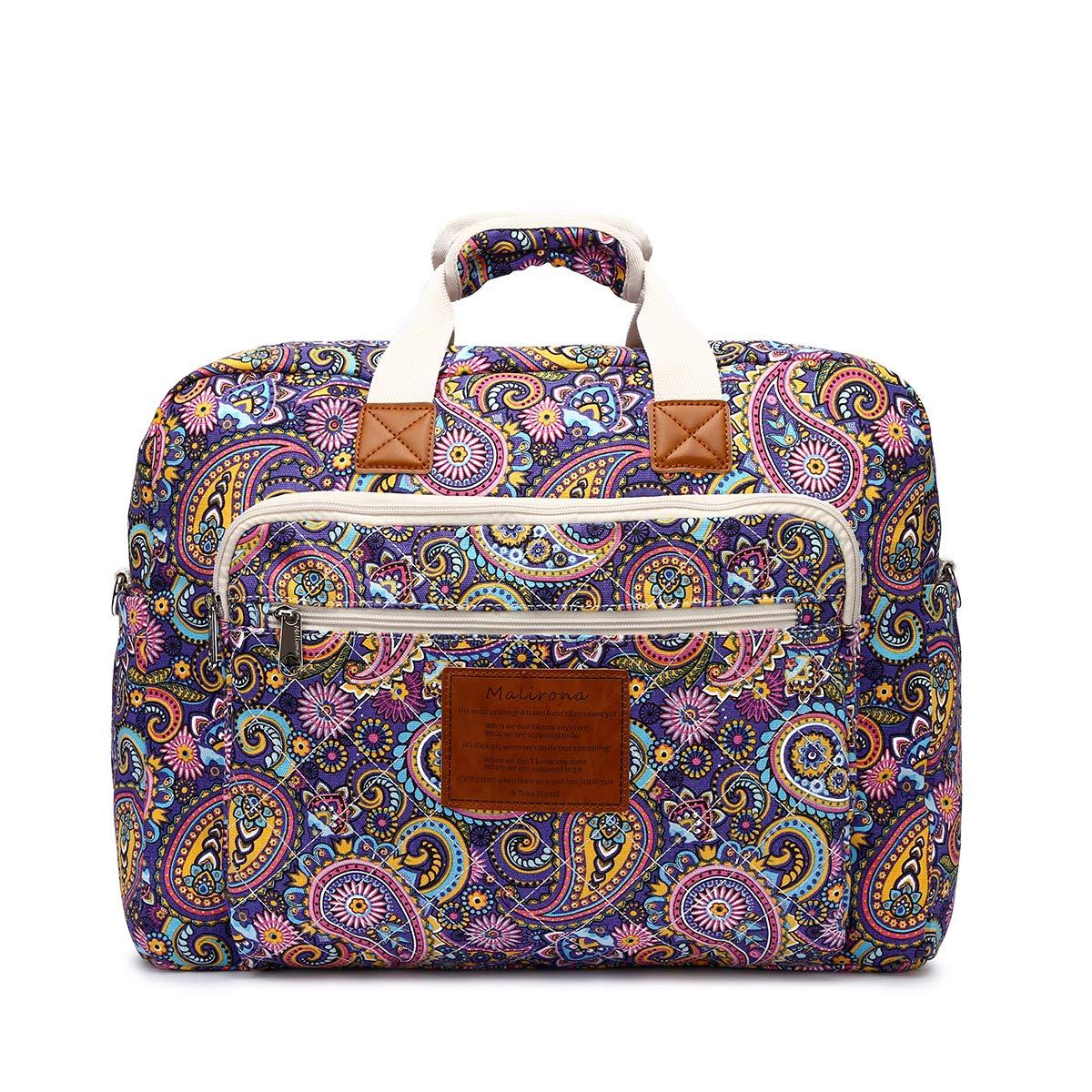 Malirona Women's Canvas Overnight Weekender Bag Carry On Travel Duffel Tote Bag Bohemian Flower (Purple Flower)