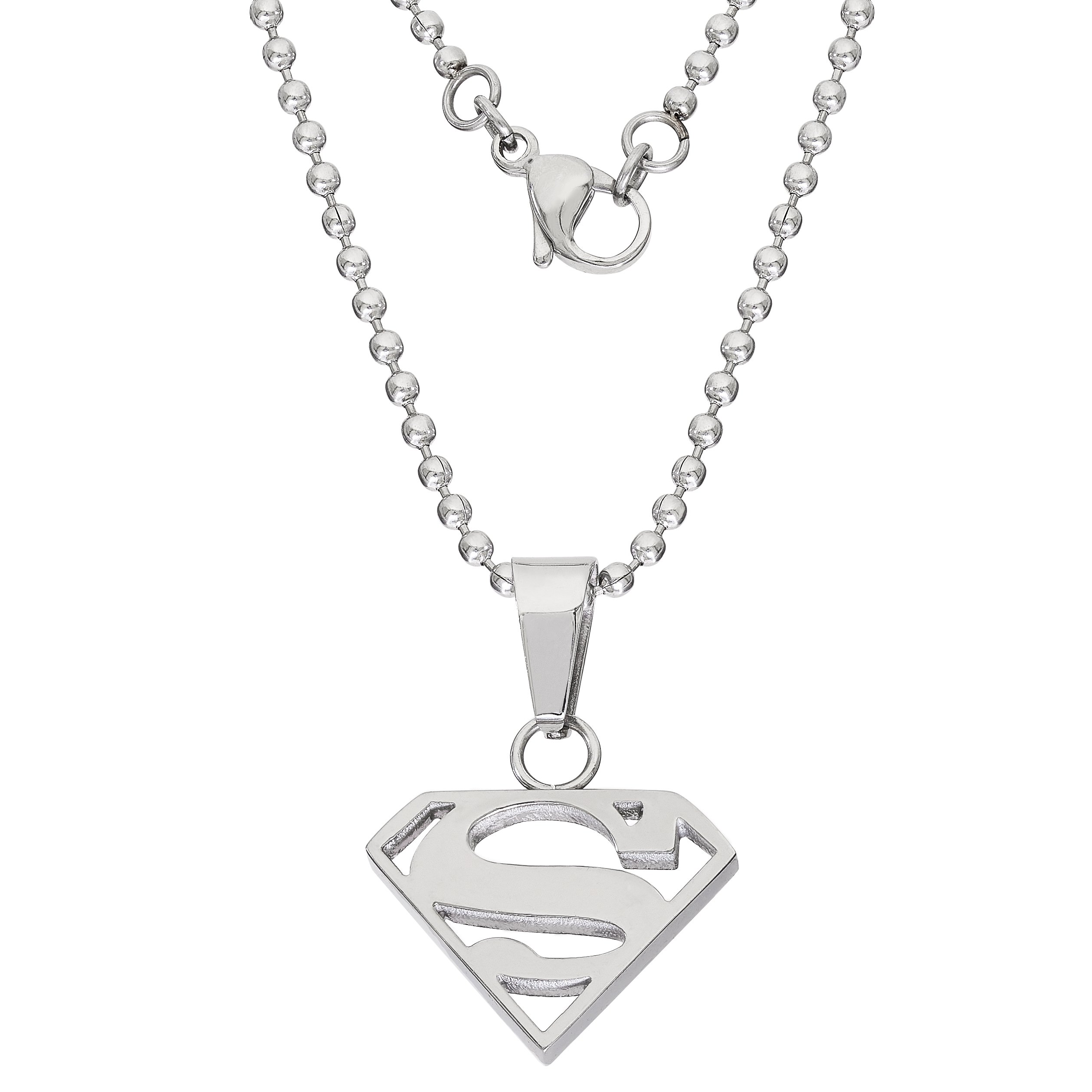 DC Comics Jewelry Superman, Stainless Steel Cutout Logo Pendant, 16'' Ball Chain by DC Comics (Image #2)