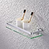 "KES Bathroom Shelf Glass Shelf with 13.6"" Aluminum Rail - Shower Orgainzer Basket Wall Mounted, Silver Sand Sprayed, A4126A"
