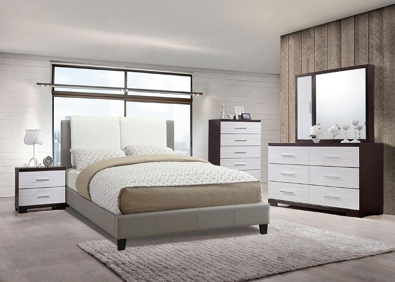Amazon.com: Modern Bedroom Furniture 4pc Set White & Grey ...