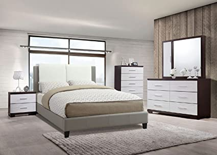 Amazon.com: Modern Bedroom Furniture 4pc Set White & Grey ...