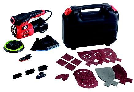 BLACK+DECKER KA280K-QS Multiponceuse 4 en 1 Autoselect Filaire - Doigt de Ponçage - 17 Abrasifs - Livrée en Coffret 220W,170 x 100 mm