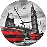 Feeby, Wall Clock, Multi-colour, Deco Panel Picture with Clock, Wall Deco, diameter 40 cm, LONDON, BIG BEN, BUILDING, BUSES, RED, BLACK AND WHITE