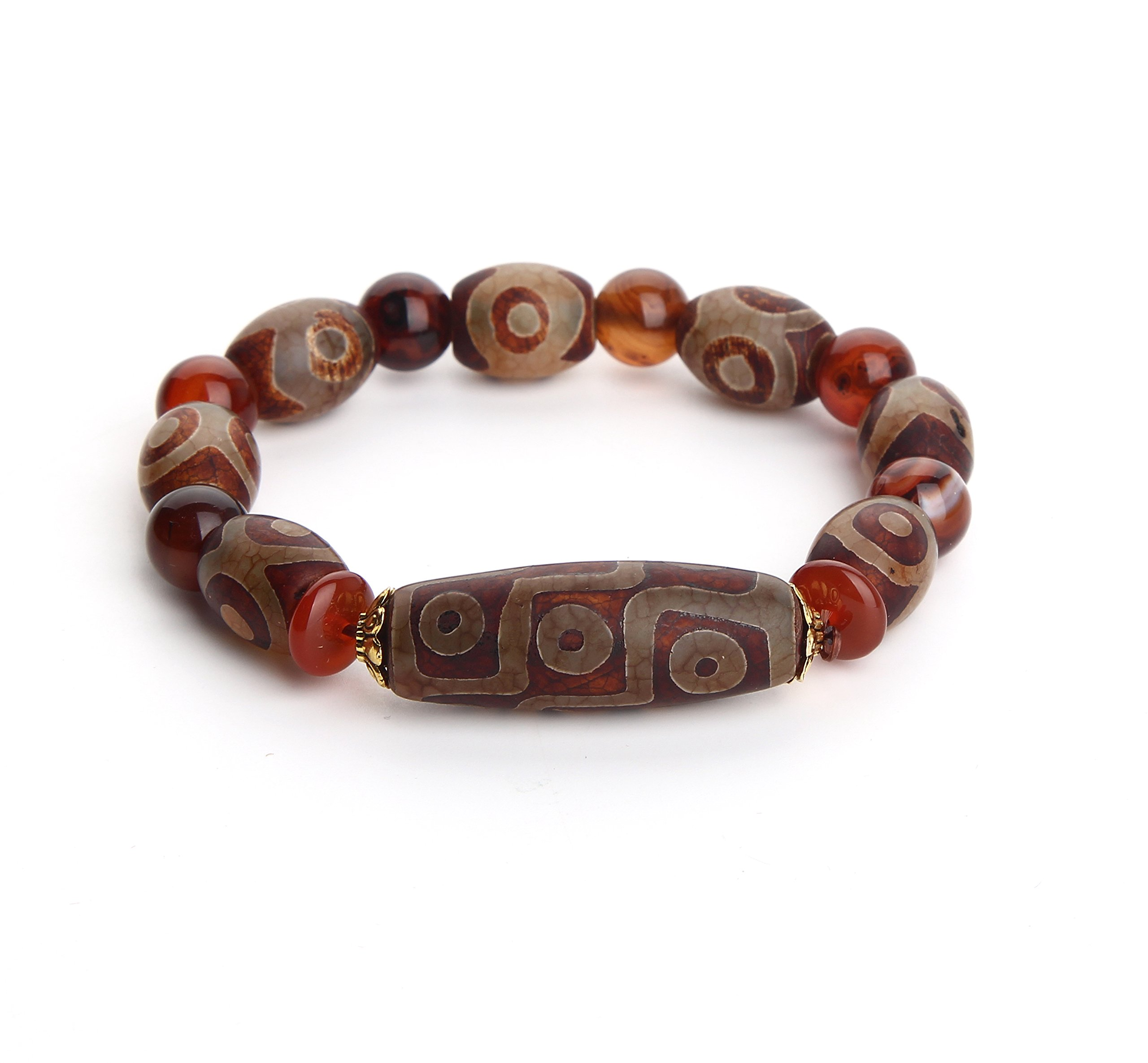 Wenmily Feng Shui Tibetan Dzi Bead Protective Amulet Bracelet, Attract Wealth and Good Luck, Deluxe Gift Box Included by Wenmily
