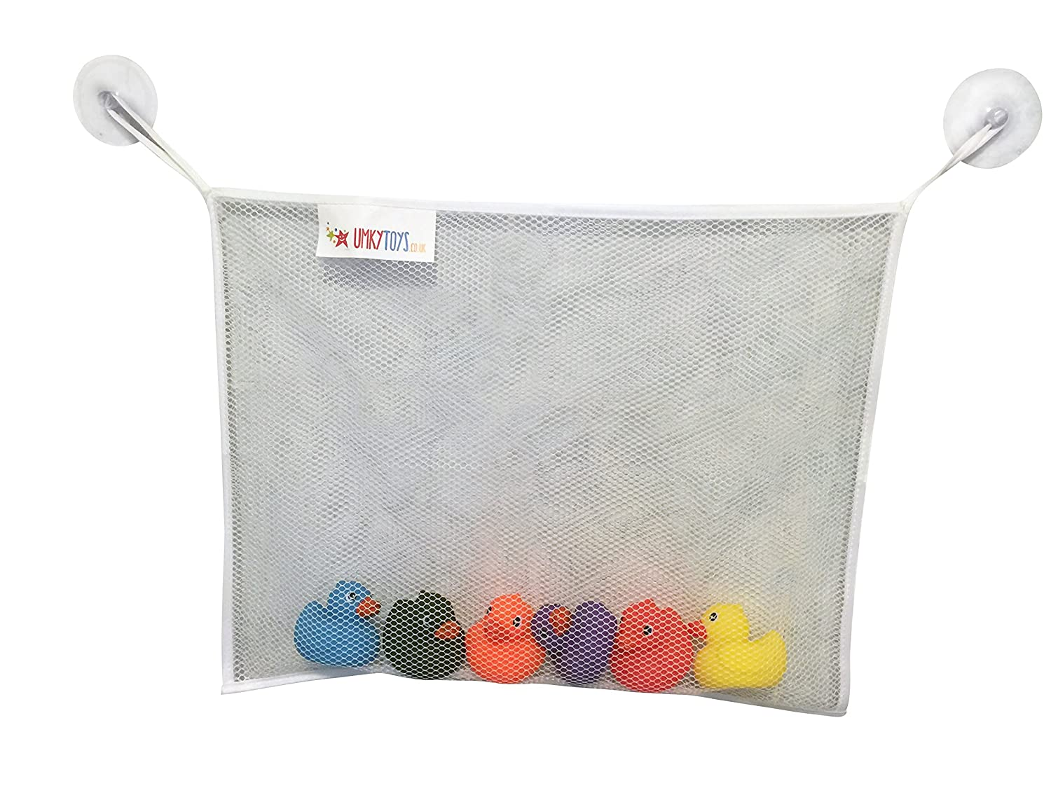 Baby Bath Toy Bag Organiser Large Toy Storage Tidy Bag with 4 Sided Border Extra Strong Large Suction Cups UMKYTOYS