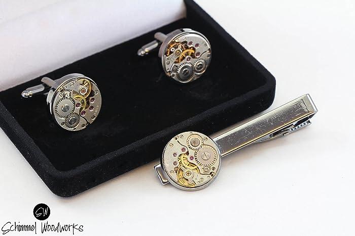 Men Steampunk Cufflinks and Tie Clip - Luxury Handmade Gun Metal Vintage  Watch Movement Steampunk Cufflinks / Cuff Links and Tie Clip / Tie Bar  Wedding Gift ...