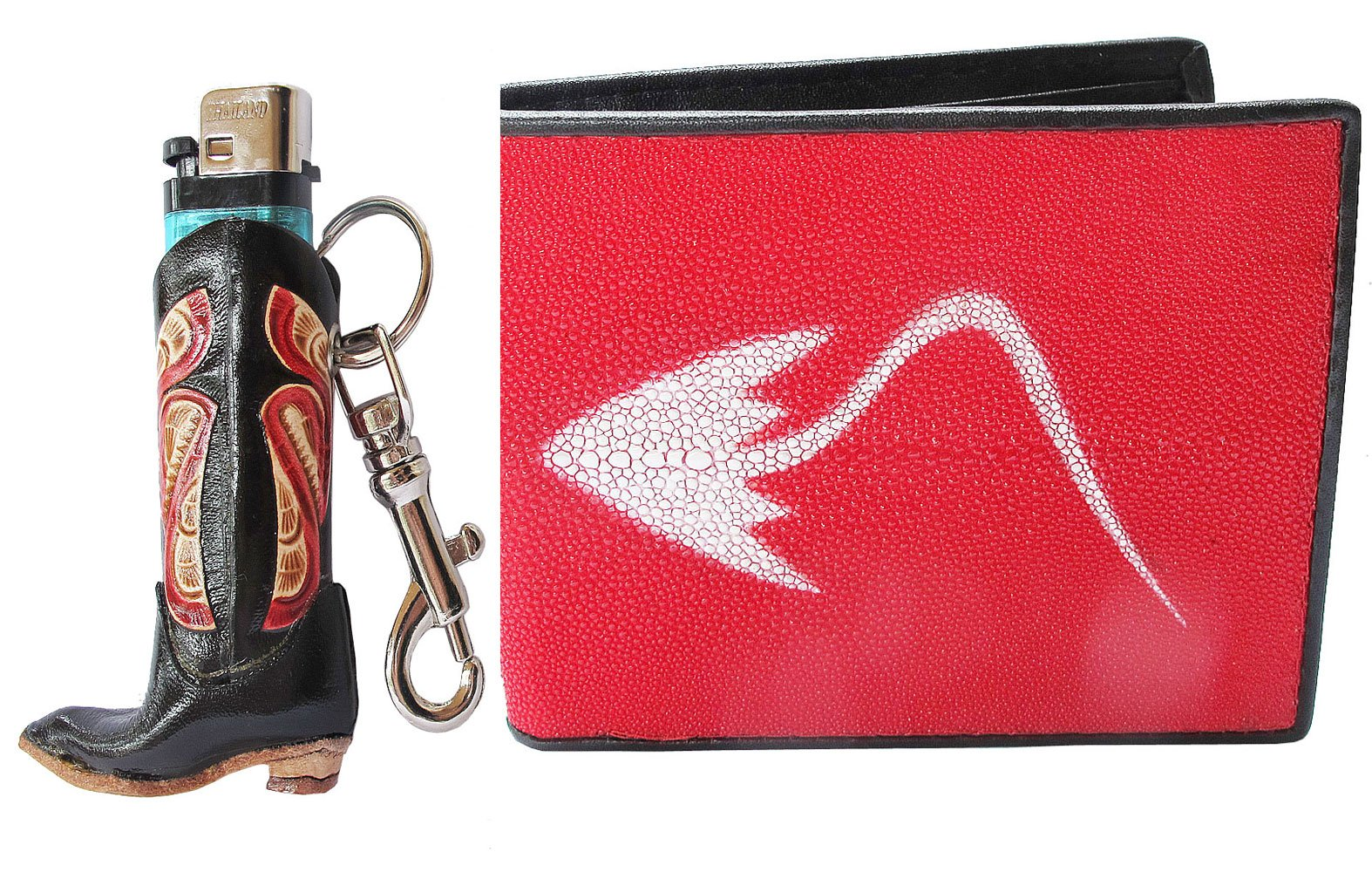 Danai Presents.(WHOLESALE FOR 3 SET) HOT RED GENEUINE AND COOL STINGRAY BI FOLD WALLET US SIZE COME ALONG WITH LIGHTER CASE by THAI