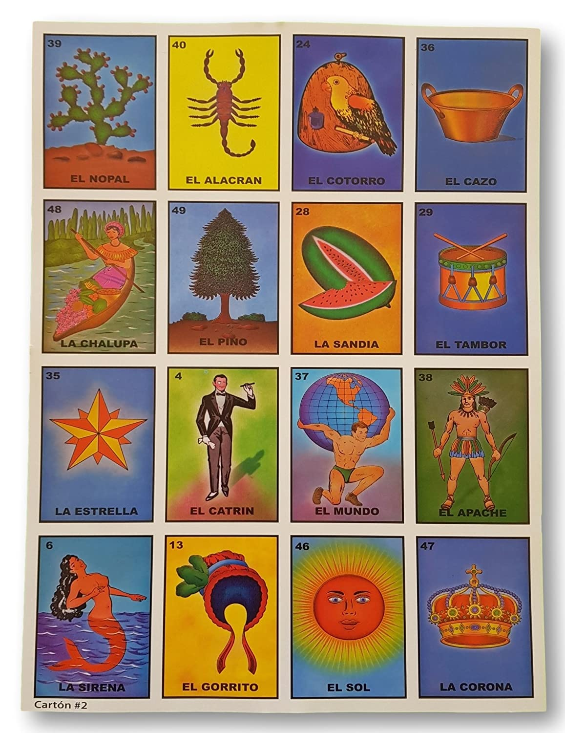 Amazon.com: Authentic Super Jumbo Mexican Loteria 24