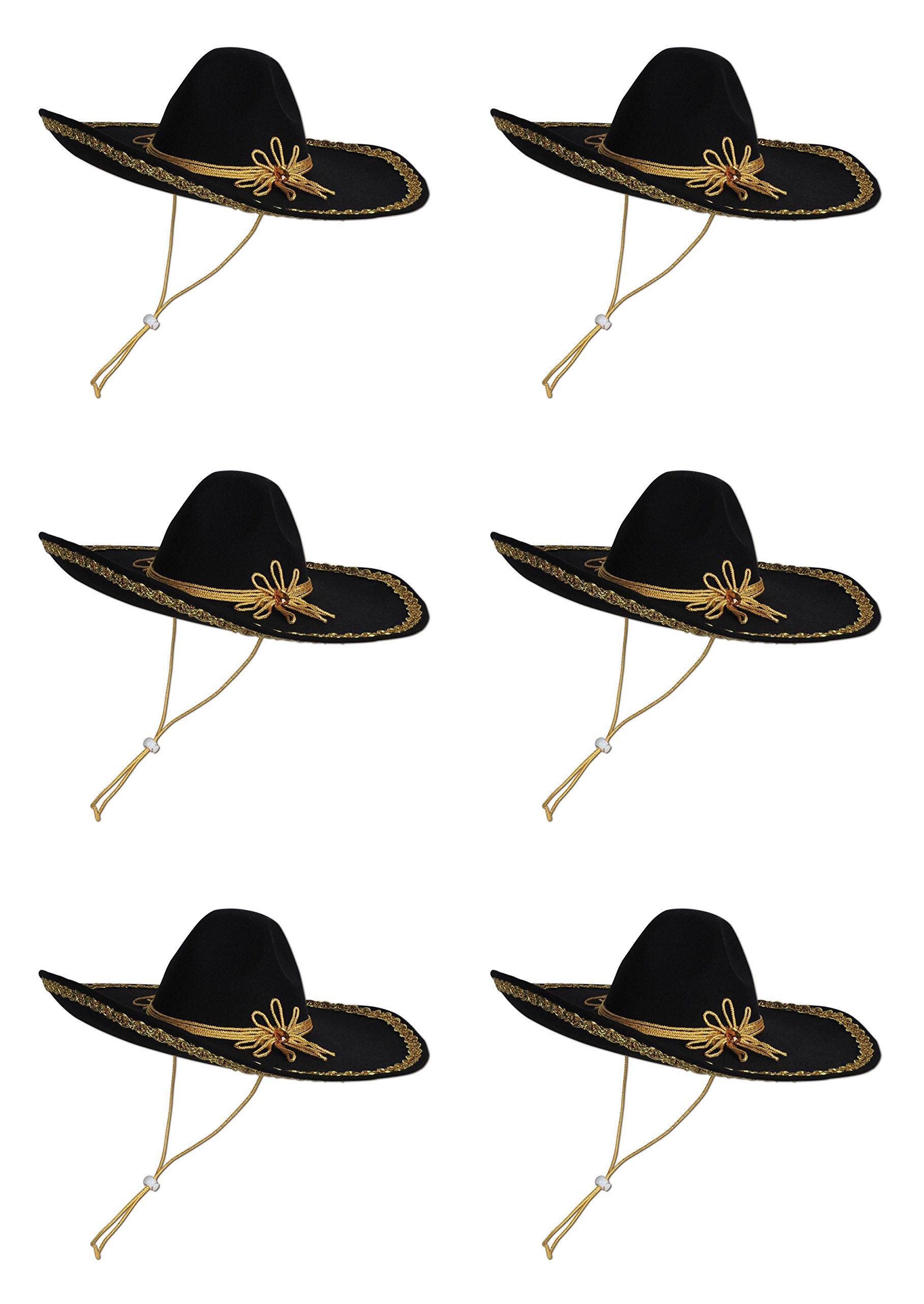 Beistle 60624 6-Pack Felt Sombrero