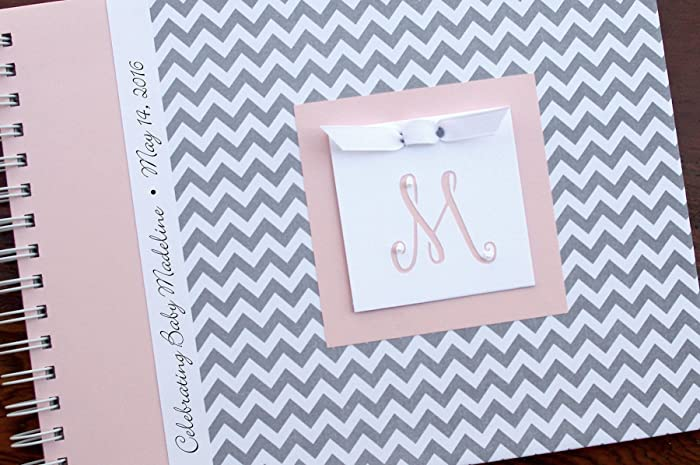 Baby Shower Guest Book By Charmbooks | Personalized Guestbook | Gray  Chevron + Pink | 20