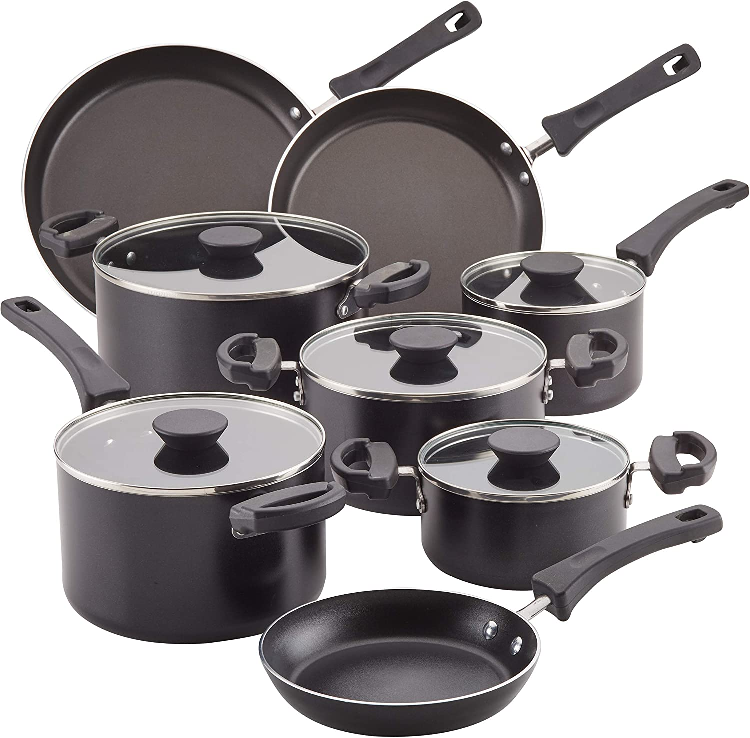 Farberware 22245 Neat Nest Space Saving 13-Piece Aluminum Cookware Set, Black