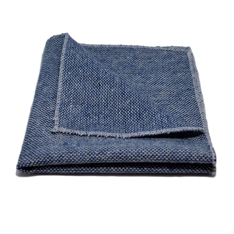 Highland Weave Stonewashed Blue Necktie /& Pocket Square Set