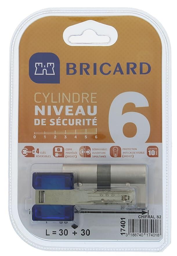 Bricard 17401 Cylindre de serrure double entr/ée Chifral S2 30+30 Nickel/é
