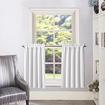Cafe Curtains In Living Room.Aquazolax White Curtain Tier Valance Rod Pocket Room Darkening Valance Cafe Curtains 2 Panels 28 By 36 Inches Greyish White