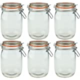 Argon Tableware Preserving / Biscuit Glass Storage Jars - 1000ml - Pack of 6