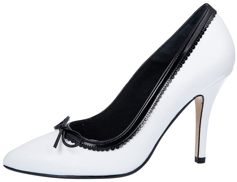 Fiarucci Party Pumps Francis Leder - schwarz Weiß Leder Francis Schleife - Damen schwarz Weiß fd1575