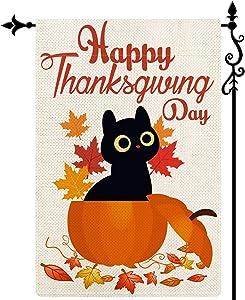 Coskaka Happy Thanksgiving Day Cute Cat Pumpkin Garden Flag,Maple Leaves Vertical Double Sided Buffalo Check Plaid Rustic Farmland Burlap Yard Lawn Outdoor Decor 12.5x18 Inch