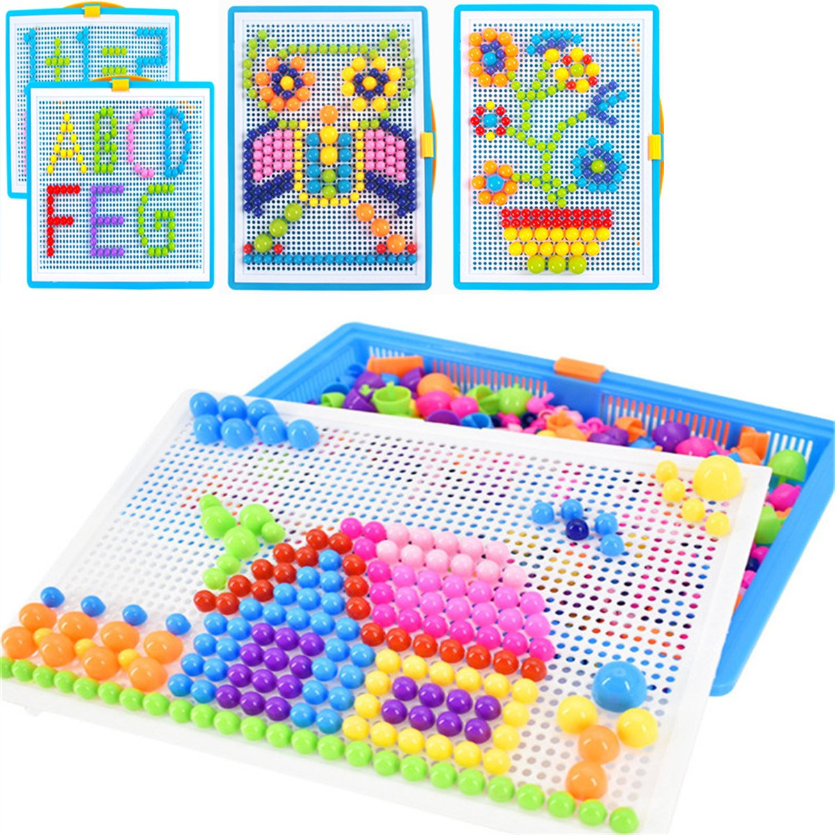 Qchomee Creative Jigsaw Puzzle Board 296 PCS Mushroom Nails Pegboard DIY Assorted Color Mosaic Kit Game Educational Toys Popular Birthday Christmas Toys for Children Girls Boys Age 3-8 years