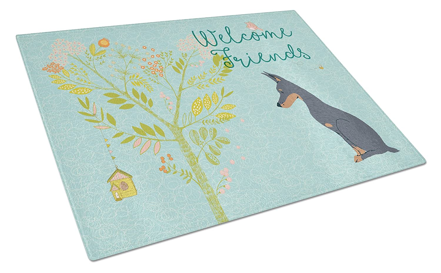 Caroline 's Treasures bb7586lcb Welcome Friends Doberman Pinscher Chopping Board、L、マルチカラー B073RHRFH5