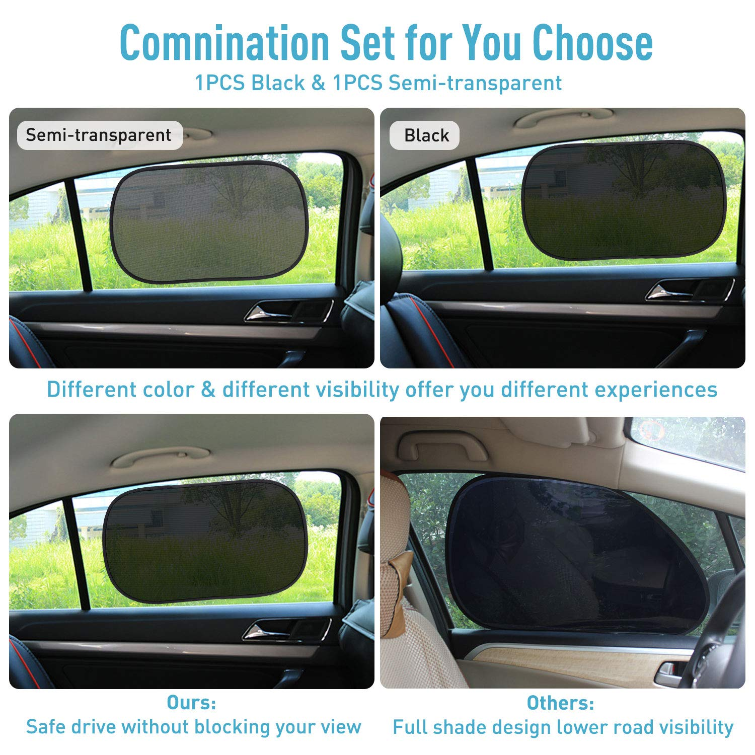 JOJOY LUX 4 Pack Car SunShades for Baby Side Window Sun Shades Auto Sun Shiled Blocking UV Ray,80 GSM for Maximum UV//Sun//Glare Protection,2 Pack 20x12 and 2 Pack 17.5x14 2 Colors
