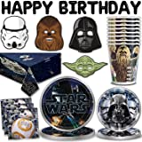 """Star Wars Party Supplies for 16 - Large Plates, Dessert Plates, Napkins, Masks,""""Happy Birthday"""" Letter Balloons, Table cover, Cups - Great Tableware Set w/Darth Vader, Yoda, Chewbacca & Stormtrooper"""
