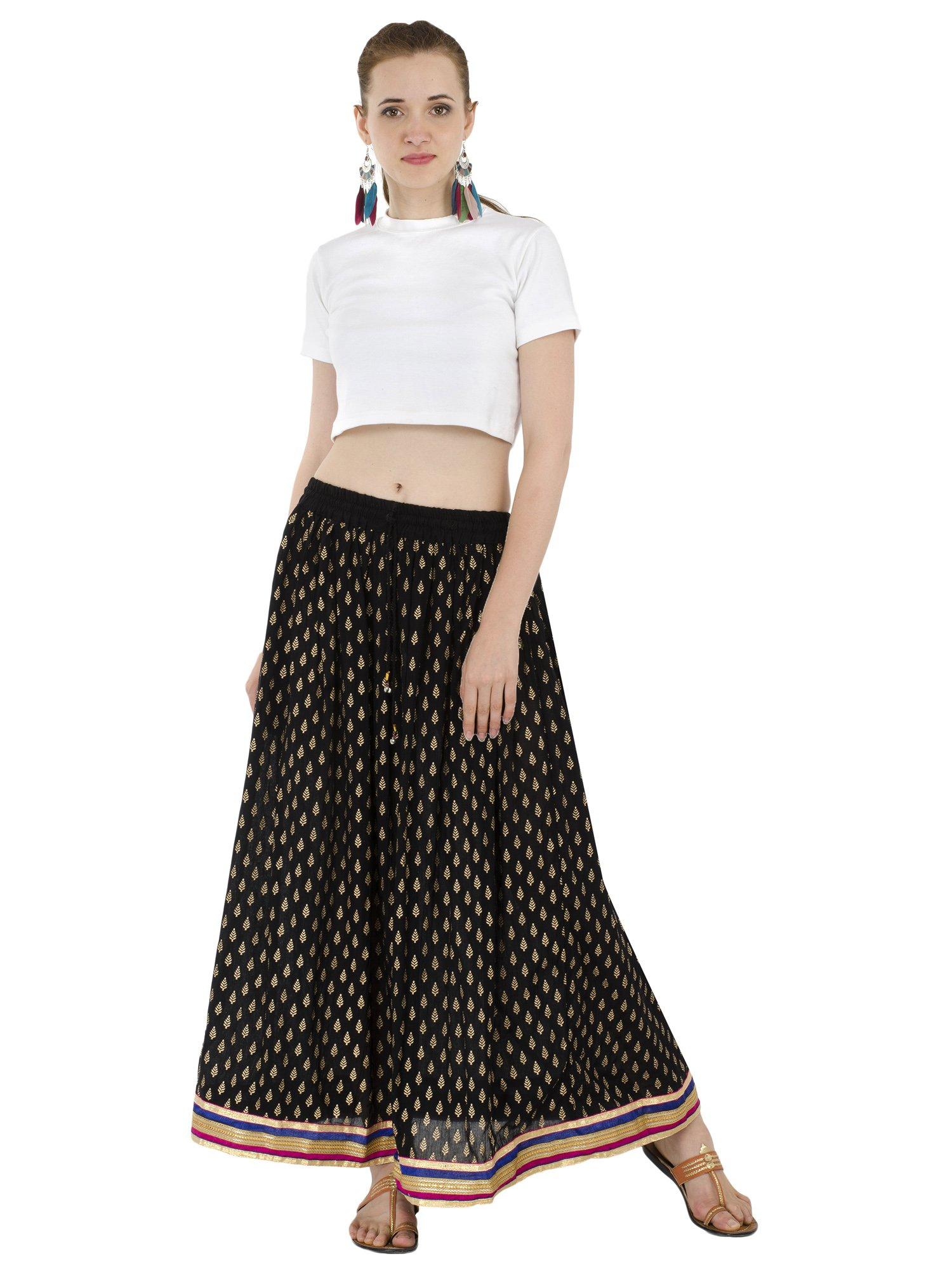 Women's Full Length Elastic Waisted Maxi Skirt Floral Print Long Skirts